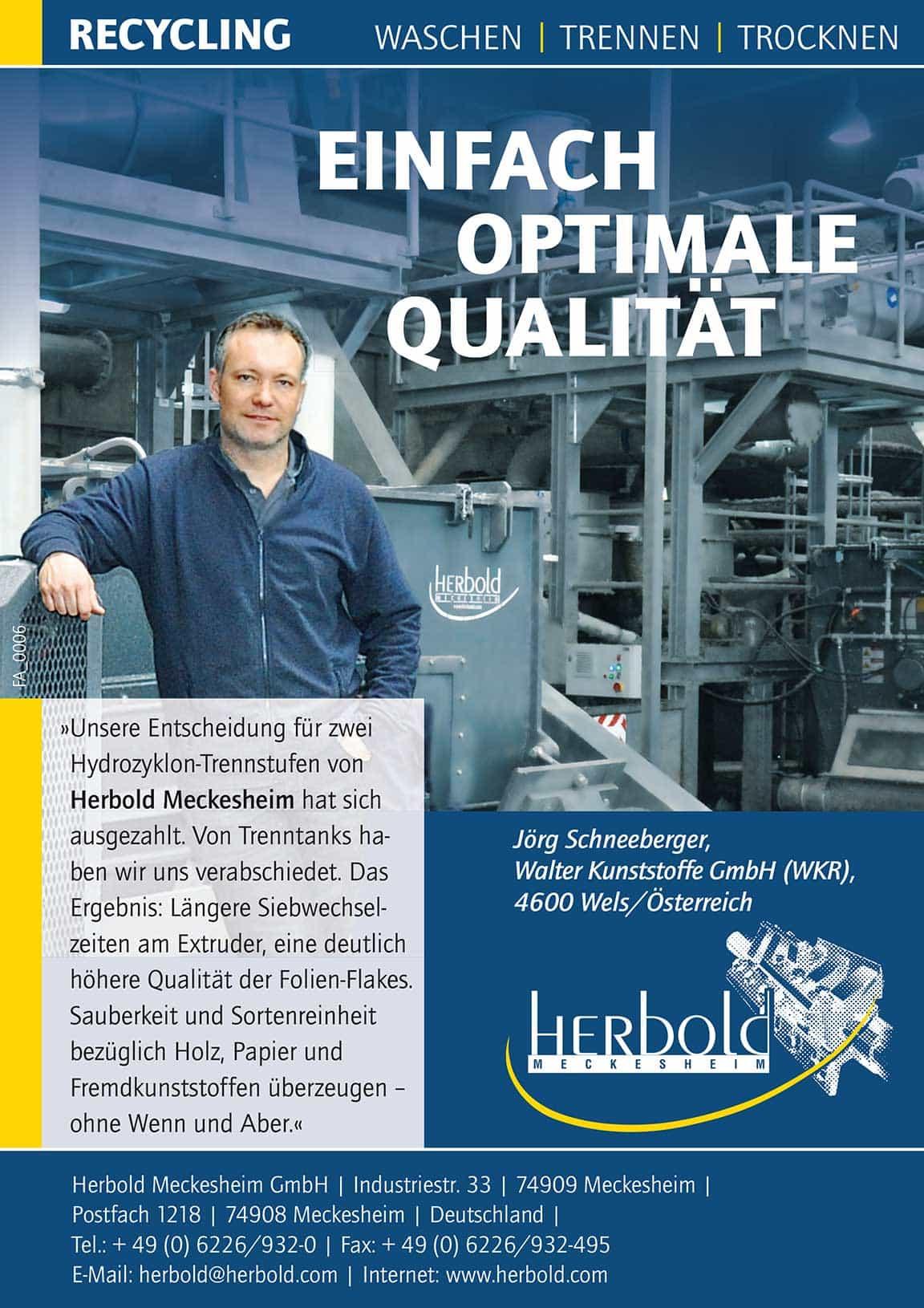 WKR D Testimonial Hydrozyklontrennstufe Herbold Meckesheim - Herbold Meckesheim at the FAKUMA 2017 (17/10/ – 21/10/2017) Hall A6 Stand 6511